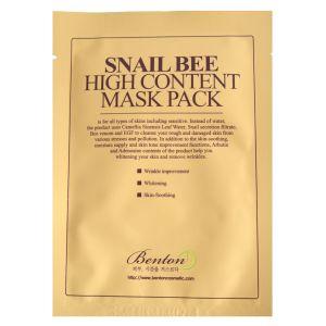 Маска тканевая для обновления кожи с муцином улитки и ядом пчелы - Benton Snail Bee High Content Mask Pack