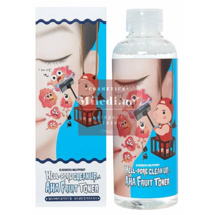 Пилинг-тоник с фруктовыми кислотами для лица - Elizavecca Milky Piggy Hell Pore Clean Up AHA Fruit Toner