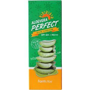 Солнцезащитный крем с Алоэ SPF50+ (Фармстей) - Farmstay Aloevera Perfect Sun Cream SPF50+ PA+++