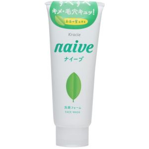 Пенка для умывания и снятия макияжа с экстрактом чайного листа - Kracie Naive Makeup Removal Face Wash