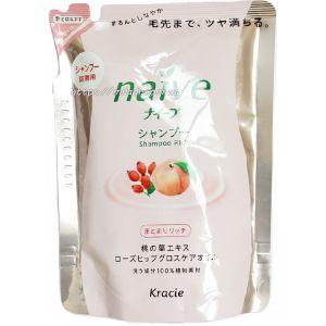 Шампунь с экстрактом персика и маслом шиповника (сменная упаковка) - Kracie Naive Shampoo Rich