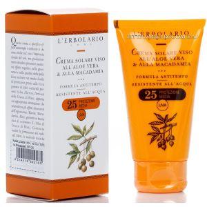 Солнцезащитный крем с алоэ SPF25, 75мл - L`Erbolario Crema solare Viso all'Aloe Vera & alla Macadamia