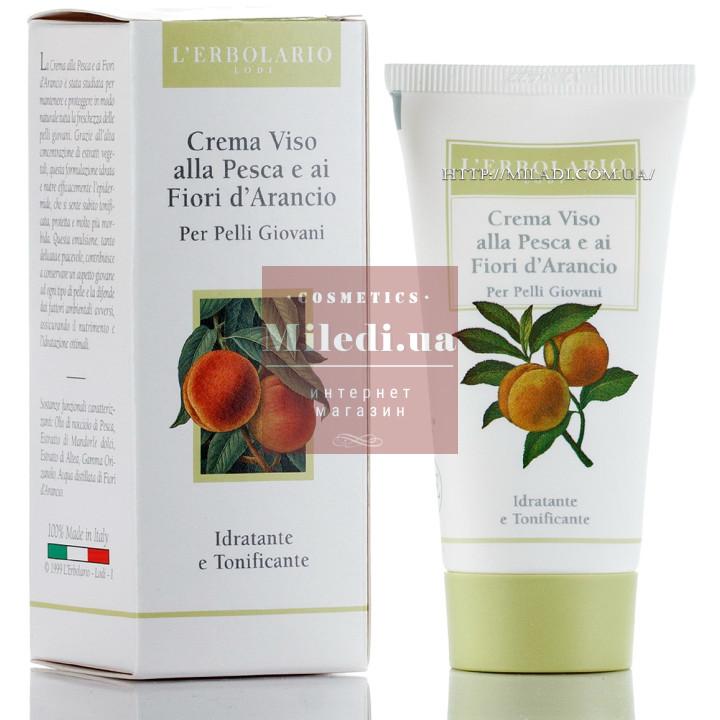 Крем увлажняющий с персиком и цветами апельсинового дерева - L`Erbolario Crema Viso alla Pesca e ai Fiori d`Arancio
