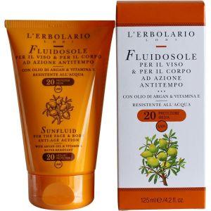 Солнцезащитное молочко для загара с маслом аргании, 125мл - L`Erbolario Fluidosole Per il Viso & Corpo Ad Azione Antitempo