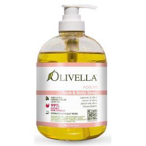 Жидкое мыло Абрикос на основе оливкового масла, 500мл - Olivella Face & Body Liquid Soap Apricot