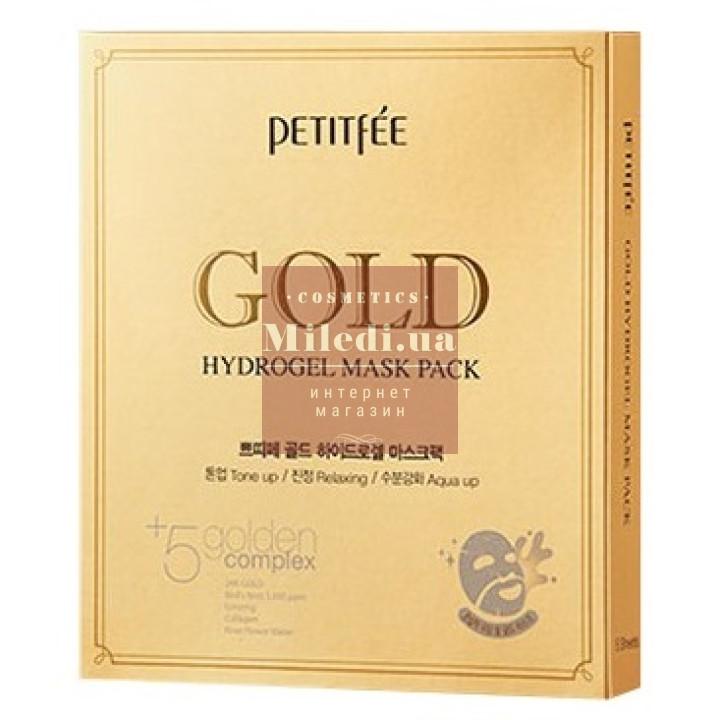 Маска гидрогелевая для лица с золотым комплексом - Petitfee Gold Hydrogel Mask Pack +5 Golden Complex