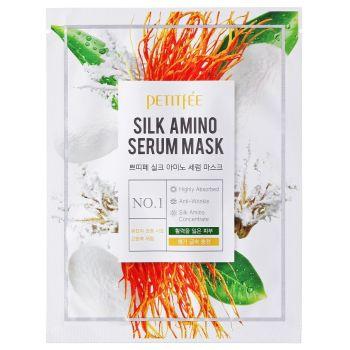 Антивозрастная маска для лица с протеинами шелка 10шт (Петитфи) - Petitfee Silk Amino Serum Mask