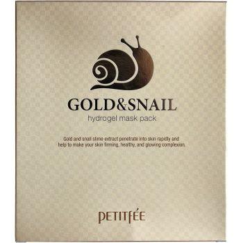 Гидрогелевая маска с золотом и улиткой (5шт) - Petitfee Gold & Snail Hydrogel Mask Pack