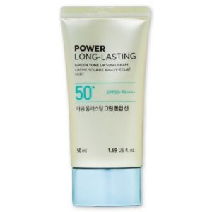Солнцезащитная база под макияж, 50мл - THEFACESHOP Power Long Lasting Green Tone Up Sun Cream SPF50+